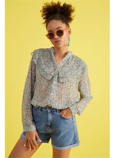 Z Giyim Kadın  Mint Yeşili  Yaka Volanlı Şifon Bluz Yeşil